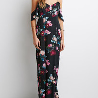 Black Spaghetti Strap Floral Print Backless Maxi Dress