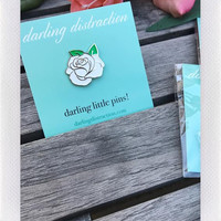 DARLING DISTRACTIONS WHITE ROSE PIN