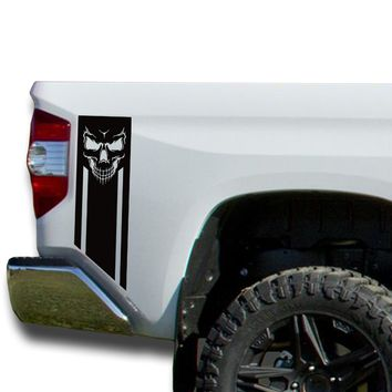 Skull Evil Face Bedside Decals stripe Vinyl Sticker fits 2014-2018 Toyota Tundra