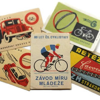 Vintage Bicycle Matchbook Paper Labels European Bikes - Supplies, Altered Art, DeCoupage, Destash Lot Set of 5