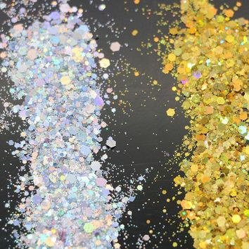 Silver Gold Glitter Nail art Confetti Decorations Manicure Party decals dust