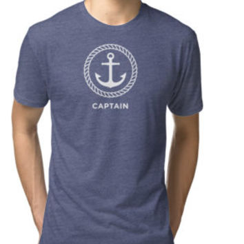 Captain t-shirt with anchor inside rope border by Mhea