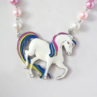 Retro Rainbow Pony Horse Rainbow Brite Inspired Starlite colourful pearls Japan Fairy Kei Fantasy inspired long Necklace