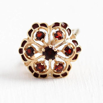 Garnet Cluster Ring - Vintage 10k Rosy Yellow Gold Red Enamel Gem Statement - 1970s Size 5 3/4 Halo January Birthstone JJ White Fine Jewelry