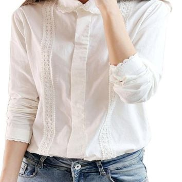 White Blouse Women Cotton Lace Embroidery Turn-Down Collar Long Sleeve Tops Shirt