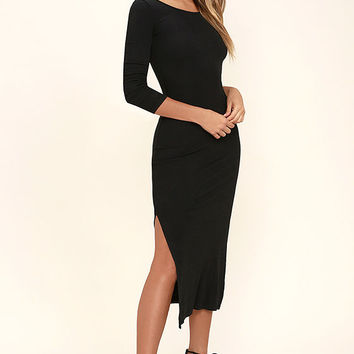 Amuse Society Naia Black Midi Dress