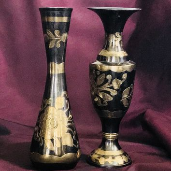 Bronze Black Vases with Hand Painted Gold Floral Design