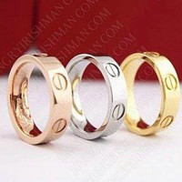 """Cartier"" Ring Women Men ring rhinestone ring on simplicity Gold/Silver/Rose gold"