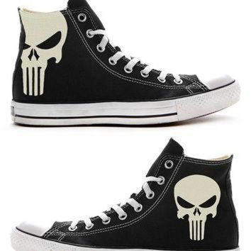 VONR3I The Punisher Custom Converse / Painted Shoes