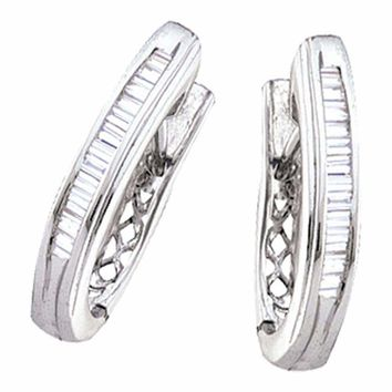 10kt White Gold Women's Baguette Channel-set Diamond Hoop Earrings 1-2 Cttw - FREE Shipping (USA/CAN)
