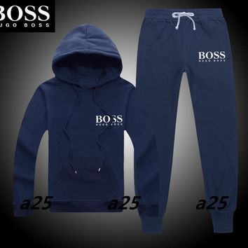 Boys & Men Hugo Boss Cardigan Jacket Coat Hoodie Pants Trousers Set Two-Piece Sportswear