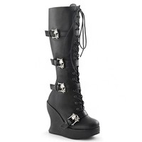 Demonia BRAVO-109 Skull Buckle Gothic Boots - Demonia Shoes at SinisterSoles.com