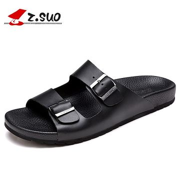 Z.Suo 2017 Summer Cool Buckled Men Slippers Genuine Leather Slides Non-slide Beach Slippers High Quality Sandalias Hombre