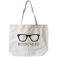 Women's Book Nerd Natural Canvas Tote Bag - 100% Cotton 18.5x14.25 inches