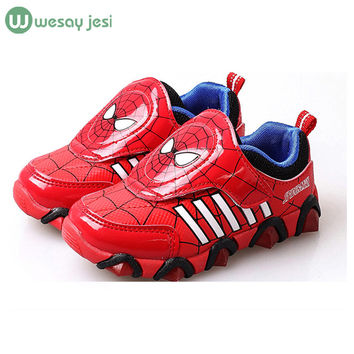 Children's Shoe 2015 New Autumn Iron Man Spiderman Flasher Fashion Sports Sneakers brand shoes led kids sport shoes  boys