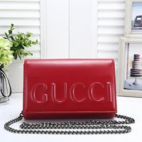 GUCCI Women Fashion Leather Chain Crossbody Satchel Shoulder Bag