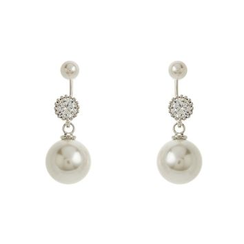 Sterling Silver Pearl and Round CZ Peek-A-Boo Earrings