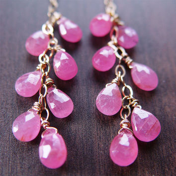 Pink Sapphire Cluster Earrings - 14k Gold Chain
