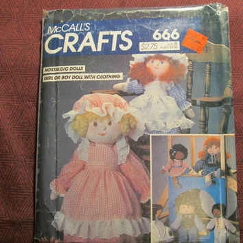 Sale Uncut 1980's McCall's Sewing Pattern, 666! Nostalgic Dolls/Girl or Boy Doll w/ Clothing/Rag Dolls/Stuffed Dolls/Dresses/Pinafore/Vests/