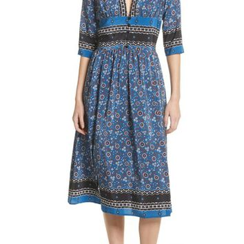 Sea Tallulah Empire Waist Silk Midi Dress | Nordstrom