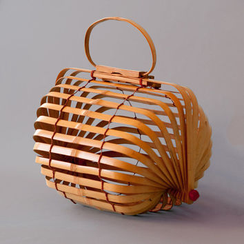 Postwar Vintage Collapsible Folding Japanese Bamboo Basket Bag
