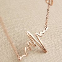 Necklace- Rose Gold heart beat necklace, rose gold ekg necklace