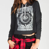Full Tilt Eye Womens Crop Hoodie Grey  In Sizes