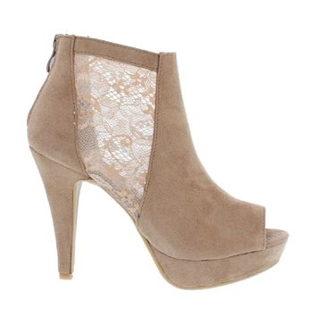 Side Lace Peep Toe Bootie (TAUPE)