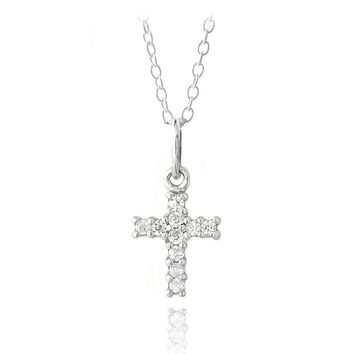 925 Silver CZ Cross Novelty Necklace, 18""