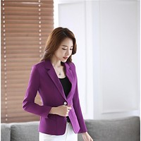 Novelty Purple Spring Fall Formal Uniform Styles Blazers Jackets Coat For Women Professional Business Female Blaser Tops Outwear