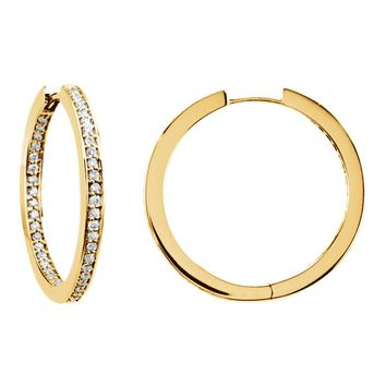 14k Yellow Gold Inside/Outside Diamond Hinged Hoop Earrings, All Sizes