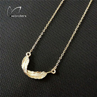 2015 Summer Style Classic Layering Dainty Feather Pendant Necklace in Gold/Silver Plated
