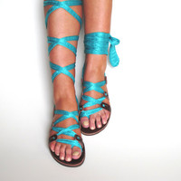 Lace up Leather Sandals Unique design with by GreekChicHandmades