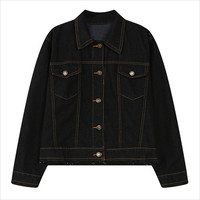 Black Double Chest Pocket Casual Denim Jacket