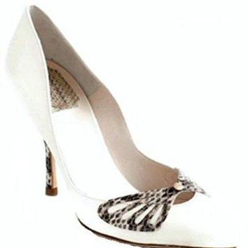 DCCK7J3 Dior Christian Butterfly Off White Leather Pumps Size 39 US 9