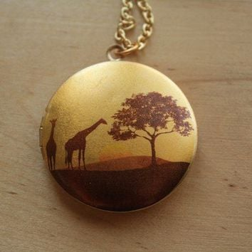 African Sunset Safari Giraffe Locket Necklace, Yellow and Brown Image Pendant, Long Gold Chain, Large Tree Picture Jewelry, Jewellery
