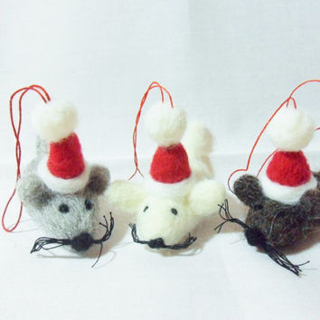 Needle Felted Christmas Decorations - set of 3 Christmas Mice - felt Christmas decorations - felted animals - Christmas mice