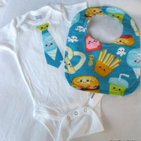 Boy Onesuit and bib set - Food foody fabric - 3 - 6 months hamburger french fry flannel