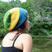 Striped Slouch Hat  Sunny Day Slouch by KnotaGeek on Etsy