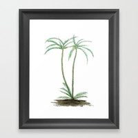 two palm trees watercolor Framed Art Print by Color and Color