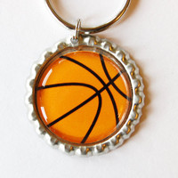 Basketball keychain, Funny Keychain, key chain, key ring, gift for him, basketball, bottlecap, sports