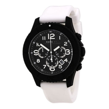Marc by Marc Jacobs MBM5525 Men's The Rock Chrono Black Dial White Silicone Strap Watch