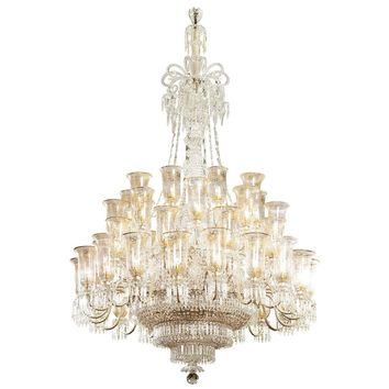Very large cut-glass and parcel-gilt antique English chandelier by F. & C. Osler