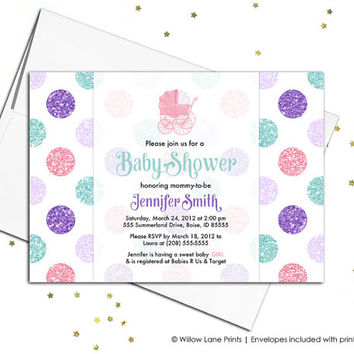 Girl baby shower invitation with polkadots - baby girl baby shower invite printable or printed invitations - girl baby invites - WLP00708