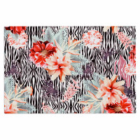 "Nika Martinez ""Tropical Fusion"" Red Floral Decorative Door Mat"