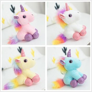 1pc 12cm Kawaii Horse Toy Cute Unicorn Plush Toy Keychain Pendant Stuffed Animal Plush Key Chain Toys For Children Birthday Gift