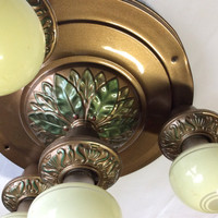 Antique Vintage Art Deco 4 Bulb Flush Mount Ceiling Light Fixture 1920s