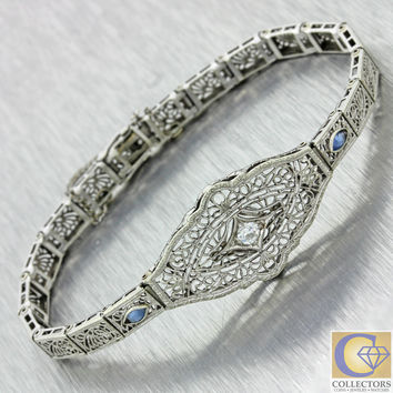 1930s Antique Art Deco .15ct Old Mine Cut Diamond Sapphire Filigree Bracelet