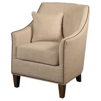 Carrie Linen Armchair, Cream, Accent & Occasional Chairs