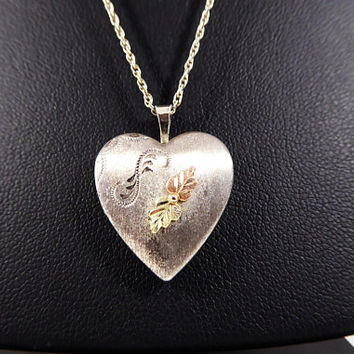 Black Hills Gold Heart Locket Etched Sterling Silver & 12K Yellow and Rose Gold Leaves 925 Chain Vintage 1990s Pendant Necklace Signed CCo